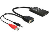 Delock VGA > HDMI  + Audio Jack 3,5mm + Power USB